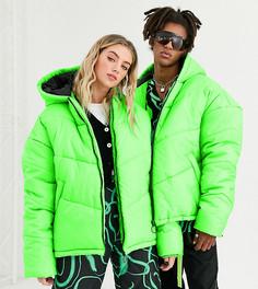 Зеленая дутая куртка COLLUSION Unisex-Зеленый