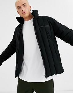 Черная дутая куртка с воротником-трубой ASOS DESIGN-Черный