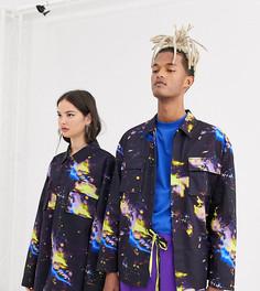 Свободная куртка в рубашечном стиле с принтом COLLUSION Unisex-Мульти