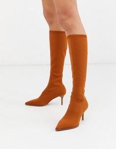 Светло-коричневые сапоги на каблуке-рюмочке ASOS DESIGN-Светло-коричневый