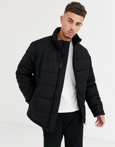Черная дутая куртка из ткани с добавлением шерсти HUGO-Черный