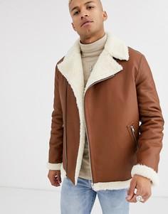 Светло-коричневая байкерская куртка свободного кроя из искусственной кожи с поясом ASOS DESIGN-Светло-коричневый