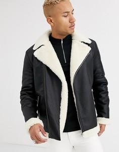 Черная байкерская куртка свободного кроя из искусственной кожи с поясом ASOS DESIGN-Черный