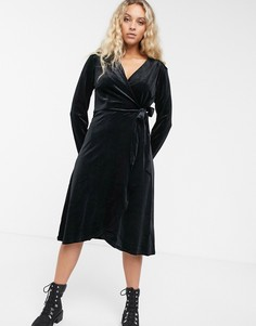 Бархатное платье с запахом Monki-Черный