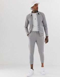 Серый политрикотажный спортивный костюм из куртки Харрингтон и укороченных зауженных джоггеров ASOS DESIGN