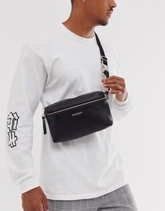Кожаная квадрантная сумка-кошелек Bolongaro Trevor-Черный