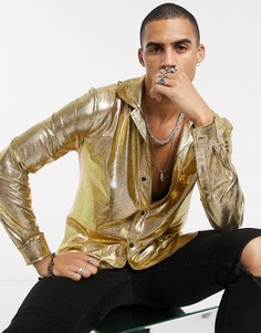 Золотистая рубашка с длинными рукавами и эффектом металлик One Above Another-Золотой
