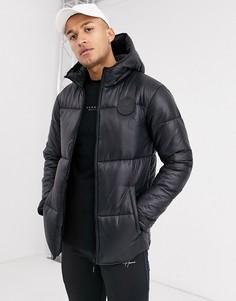 Черная дутая куртка с капюшоном Hermano-Черный