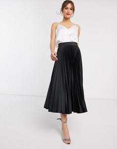 Черная плиссированная юбка Closet London-Черный