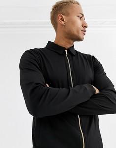 Черная куртка Харрингтон из политрикотажа с золотистыми молниями ASOS DESIGN-Черный