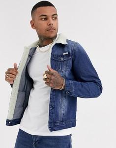 Темно-синяя джинсовая куртка с воротником из искусственного меха Liquor N Poker-Синий