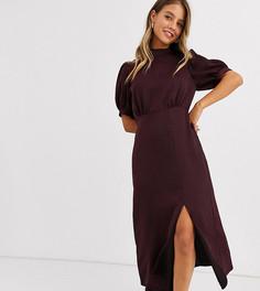Бордовое атласное платье миди с разрезом New Look-Красный