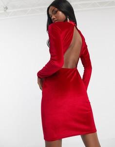 Красное бархатное платье с высоким воротником и открытой спиной Missguided-Черный