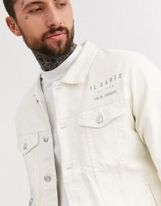 Джинсовая куртка с принтом Il Sarto-Кремовый