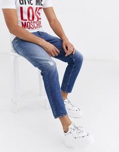 Узкие джинсы с тиснением Love Moschino-Синий