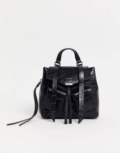 Кожаный маленький рюкзак с крокодиловым рисунком AllSaints-Черный