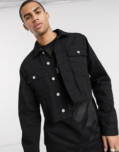 Короткая черная джинсовая куртка ASOS DESIGN-Черный