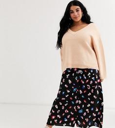 Юбка миди с разрезом и цветочным принтом Wednesdays Girl Curve-Черный
