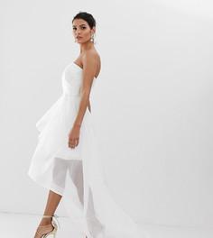 Белое свадебное платье-бандо из органзы со шлейфом Bariano-Белый