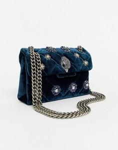 Маленькая бархатная сине-зеленая сумка с ремешком-цепочкой и отделкой Kurt Geiger Kensington-Синий