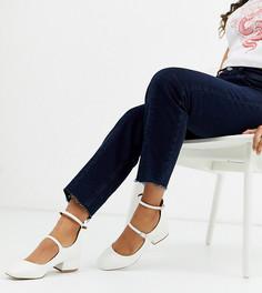 Белые туфли на каблуке для широкой стопы с крокодиловым рисунком ASOS DESIGN-Белый
