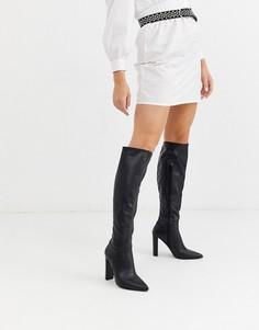 Черные сапоги до колен на каблуке для широкой стопы ASOS DESIGN Coral-Черный