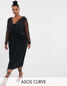 Платье миди с кружевом и плиссировкой ASOS DESIGN Curve-Черный