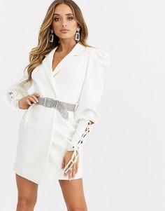 Белое платье-смокинг со стразами на ремне Missguided-Белый