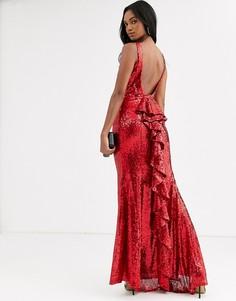 Платье-халтер макси с юбкой годе и пайетками City Goddess-Красный