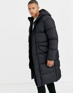 Черная удлиненная дутая куртка Brave Soul-Черный