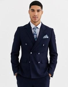 Приталенный двубортный пиджак в тонкую полоску с добавлением шерсти Gianni Feraud-Темно-синий