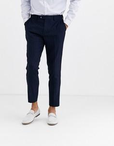 Укороченные брюки скинни в тонкую полоску с добавлением шерсти Gianni Feraud-Темно-синий