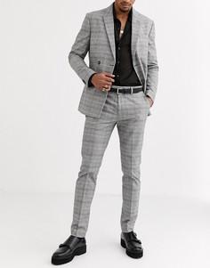 Серые облегающие брюки в клетку Topman-Серый