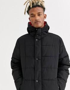Черная удлиненная дутая куртка с капюшоном Sixth June-Черный
