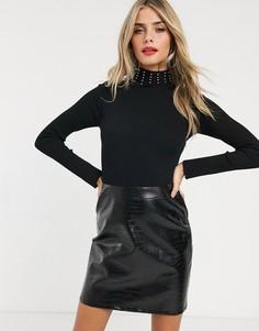Черное платье 2 в 1 с юбкой из искусственной крокодиловой кожи Lipsy-Черный