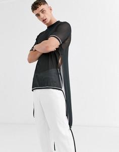 Сетчатая длинная футболка свободного кроя со ступенчатым краем ASOS DESIGN-Черный