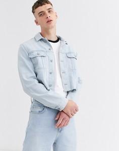 Голубая короткая джинсовая куртка от комплекта ASOS DESIGN-Синий