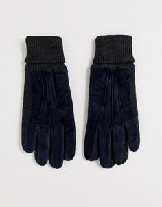Темно-синие замшевые перчатки с контрастными трикотажными манжетами Dents - Kendal-Темно-синий
