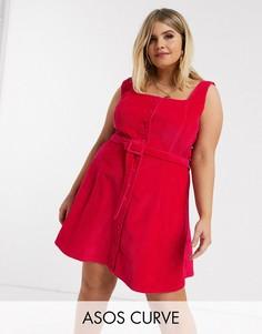 Вельветовое платье без рукавов малинового цвета ASOS DESIGN Curve-Розовый