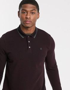 Бордовое поло с длинными рукавами Burton Menswear-Красный