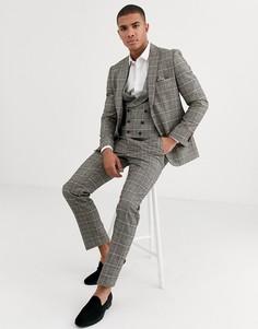 Коричневый приталенный пиджак в клетку Harry Brown-Серый
