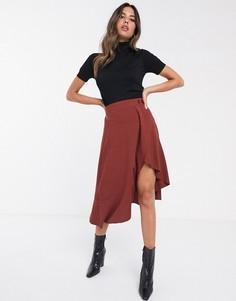 Асимметричная юбка с запахом и пуговицами Unique21-Коричневый