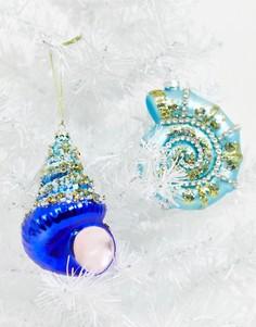 Новогодние елочные игрушки в виде ракушек Santa Express-Мульти