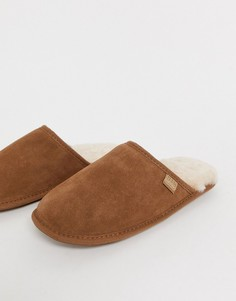 Светло-коричневые замшевые слиперы Just Sheepskin-Светло-коричневый