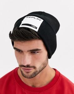 Шапка-бини с контрастным логотипом Replay-Черный