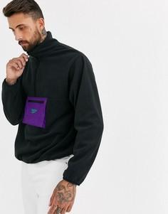 Черная флисовая куртка на молнии Reebok-Черный