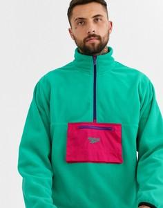 Зеленая флисовая куртка на молнии Reebok-Зеленый