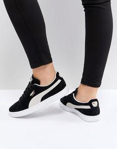 Черные замшевые кроссовки Puma-Черный