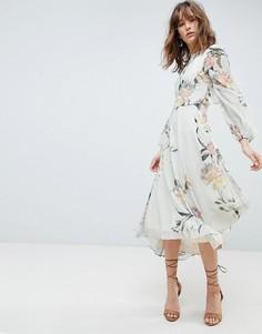Платье с принтом, длинными рукавами и кружевной отделкой Hope & Ivy-Мульти