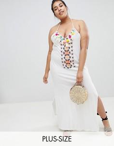 Белое пляжное платье макси с помпонами River Island Plus-Кремовый